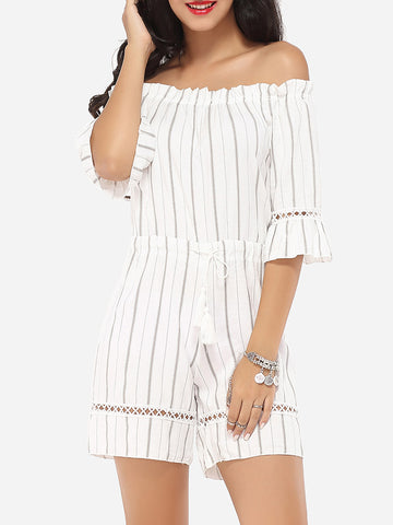 Casual Embossed Design Dacron Striped Rompers