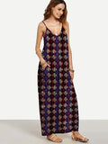 ByChicStyle Classical Black Plaid Bohemia Spaghetti Straps V Neck Maxi Dress