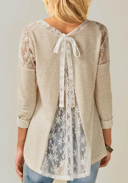 ByChicStyle Beige Patchwork Lace Round Neck Long Sleeve Fashion T-Shirt