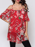 ByChicStyle Floral Printed Hollow Out Longline Tees Mandarin Sleeve Captivating Off Shoulder Blouse - Bychicstyle.com