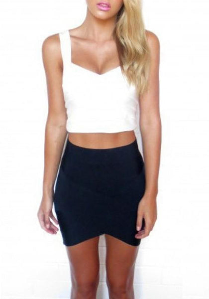 Black Plain Irregular Elastic Waist High Waisted Skirt