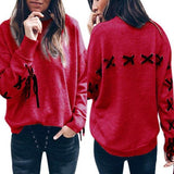 ByChicStyle Red Drawstring Round Neck Long Sleeve Fashion Pullover Sweatshirt