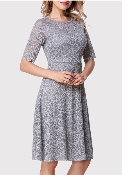 Grey Patchwork Lace Zipper Round Neck Homecoming Midi Dress