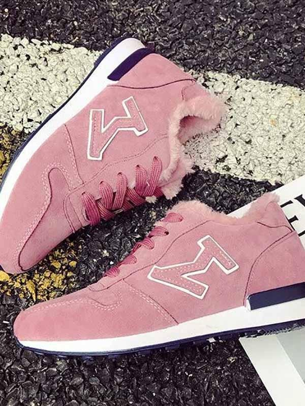 New Pink Round Toe Print Fashion Ankle Shoes