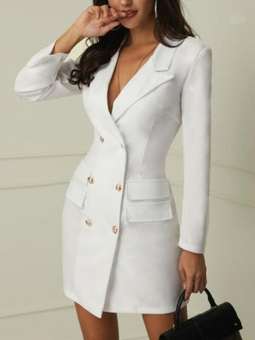 White Double Breasted Turndown Collar Deep V-neck Bodycon Clubwear Party Mini Dress