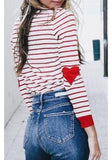 ByChicStyle Red-White Striped Round Neck Casual Going Out T-Shirt