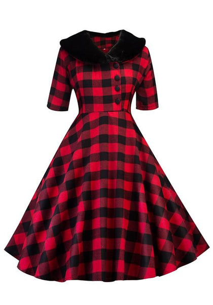 Red Plaid Vintage Fur Turndown Collar Buttons 3/4 Sleeve Midi Dress