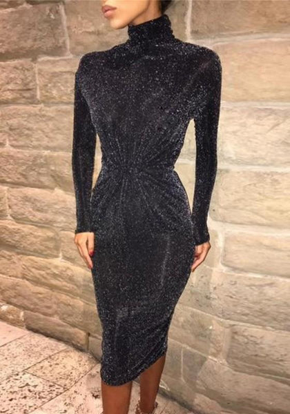 Black Bright Wire Ruffle High Neck Long Sleeve Midi Dress
