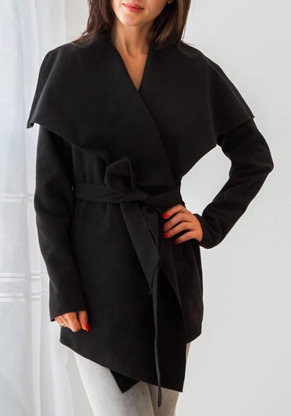 Black Irregular Sashes Turndown Collar Long Sleeve Fashion Trench Coat