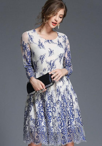 Blue Patchwork Embroidery Lace Grenadine False 2-in-1 Round Neck Long Sleeve Midi Dress