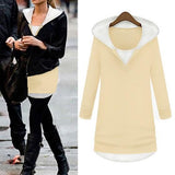 ByChicStyle Apricot Patchwork Round Neck Fashion Cardigan Hooded Sweatshirt