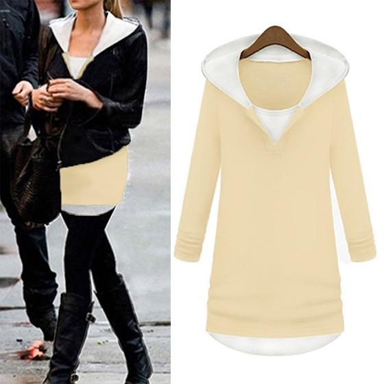 Apricot Patchwork Round Neck Fashion Cardigan Hooded Sweatshirt