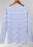 ByChicStyle Blue Striped Embroidery Round Neck Long Sleeve T-Shirt