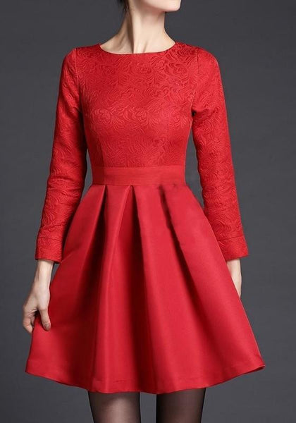 Red Zipper Pleated Round Neck Long Sleeve Tutu Midi Dress