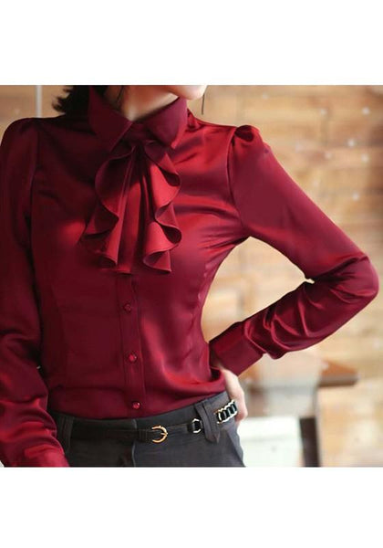 Burgundy Single Breasted Ruffle Turndown Collar Elegant Going out Blouse