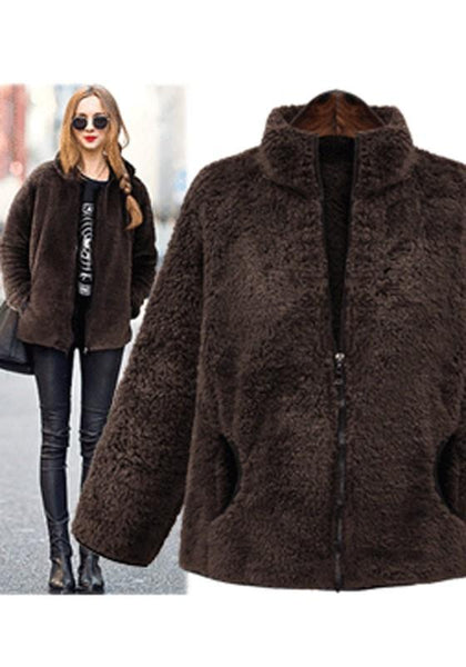 Brown Pockets Zipper Band Collar Long Sleeve Coat