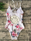 ByChicStyle Casual Boho Handmade Floral Print Cute Suit One Piece Bikini