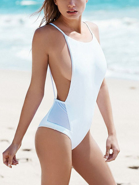 Casual Instant Vacation Open Back Solid Color One Piece Bikini