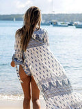 ByChicStyle Casual Boho Print A Line Cover Up Beach Dress