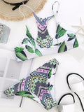 ByChicStyle Casual Green Leaf Print Bikini Set