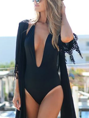 Casual Black Secret Deep V Plunge Cross Back One Piece Bikini