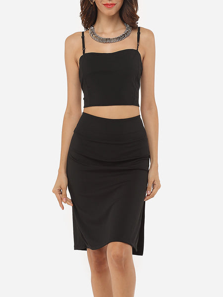 Charming Spaghetti Strap Dacron Plain Top And Side Split Skirt - Bychicstyle.com