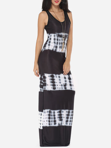 Casual Assorted Colors Color Block Printed Exquisite Scoop Neck Maxi-dress