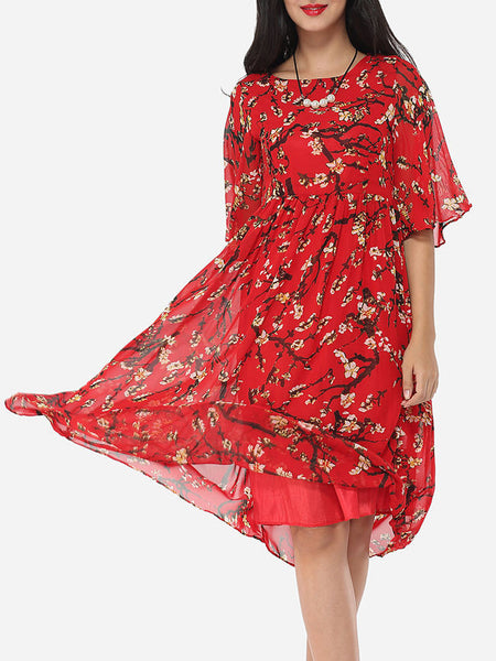 Floral Printed Round Neck Maxi Half Sleeve Dress - Bychicstyle.com