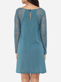 ByChicStyle Loose Fitting Crew Neck Dacron Lace Hollow Out Lace Patchwork Shift-dress - Bychicstyle.com