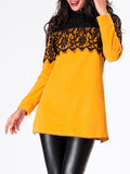 ByChicStyle Band Collar Lace Patchwork Long-sleeve-t-shirt - Bychicstyle.com