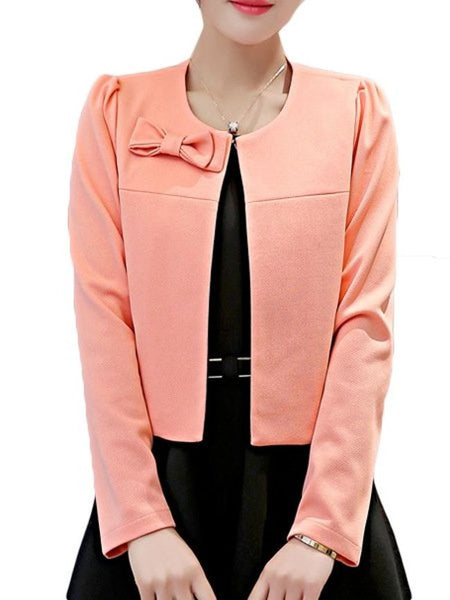 Casual Plain Bowknot Enticing Round Neck Blazers