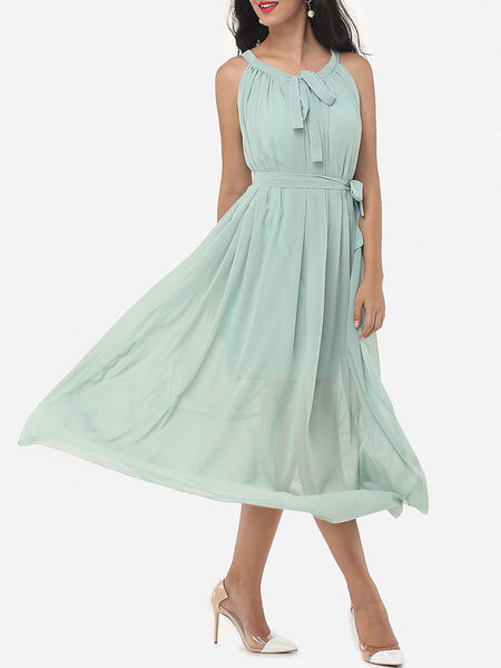 Casual Plain Awesome Halter Maxi-dress