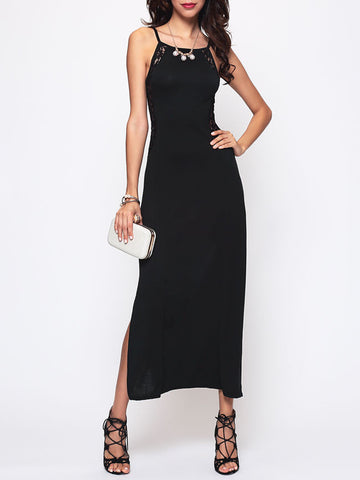 Lace Patchwork High Slit Seethrough Side Slit Alluring Off Shoulder Maxi-dress - Bychicstyle.com