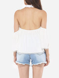 ByChicStyle Hollow Out Patchwork Plain Loose Fitting Dramatic Awesome Halter Blouse - Bychicstyle.com