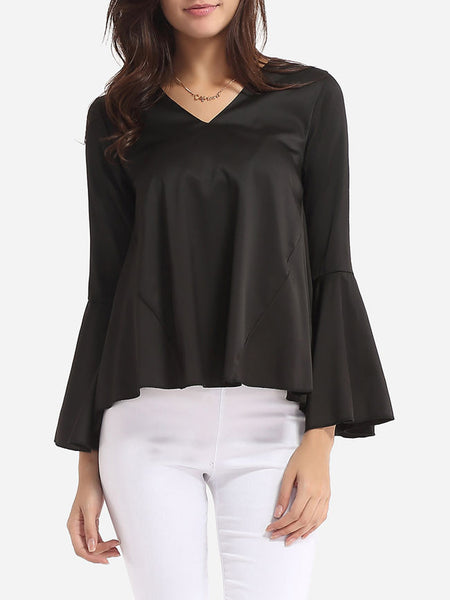 Plain Loose Fitting Mandarin Sleeve Courtly V Neck Blouse - Bychicstyle.com