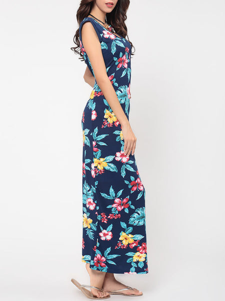 Floral Printed Pockets Charming Round Neck Maxi-dress - Bychicstyle.com