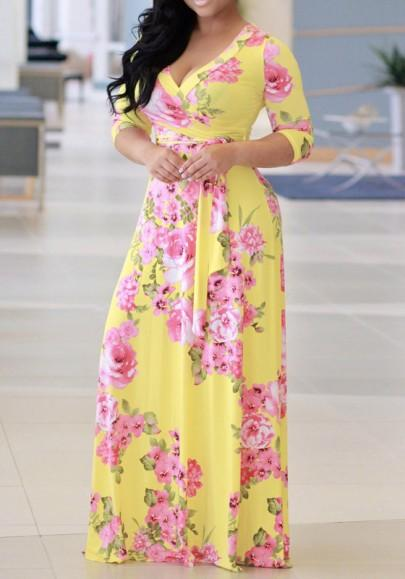 New Women Yellow Flowers Print Sashes Deep V-neck 3/4 Sleeve A-line Bohemian Maxi Dress