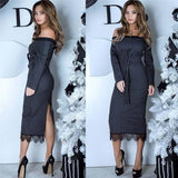ByChicStyle Grey Patchwork Lace Sashes Cut Out Boat Neck Midi Dress