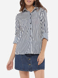 ByChicStyle Casual Pockets Single Breasted Button Down Collar Dacron Printed Striped Blouse