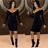 ByChicStyle Autumn / Winter Gold Velvet Deep V Zipper Tight Sexy Dress