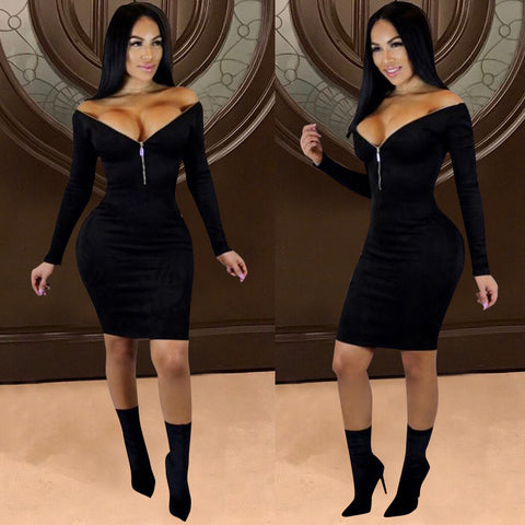Autumn / Winter Gold Velvet Deep V Zipper Tight Sexy Dress