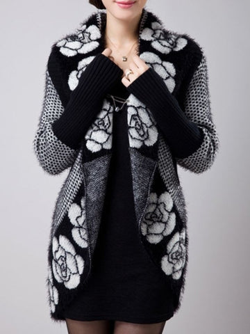 Casual Attractive Collarless Printed Cardigan