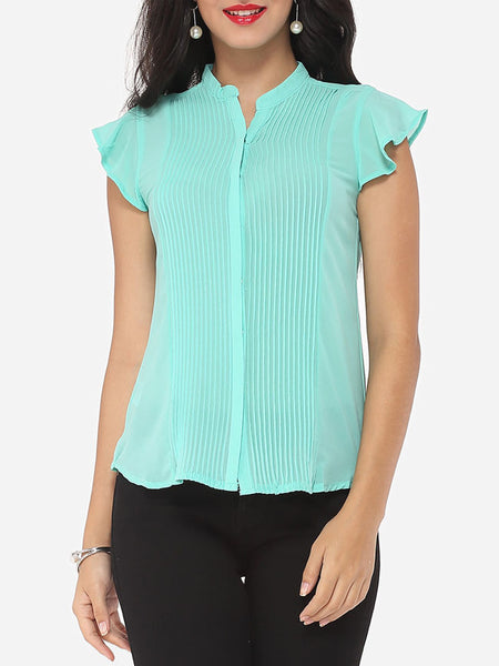 Plain Falbala Exquisite V Neck Blouse - Bychicstyle.com