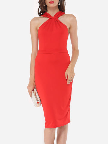 Halter Dacron Plain Cocktail-dress - Bychicstyle.com