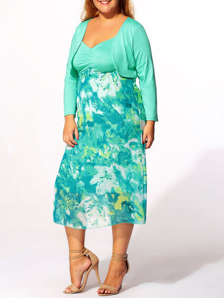 Spaghetti Strap Floral Printed Two-piece Plus-size-midi-maxi-dress - Bychicstyle.com