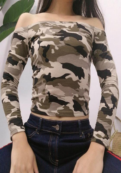 Army Green Camouflage Print Bandeau Off Shoulder Backless Fashion T-Shirt