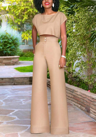 Khaki Buttons Two Piece High Waisted Worker Suit Elegant Wide Leg Long Jumpsuit