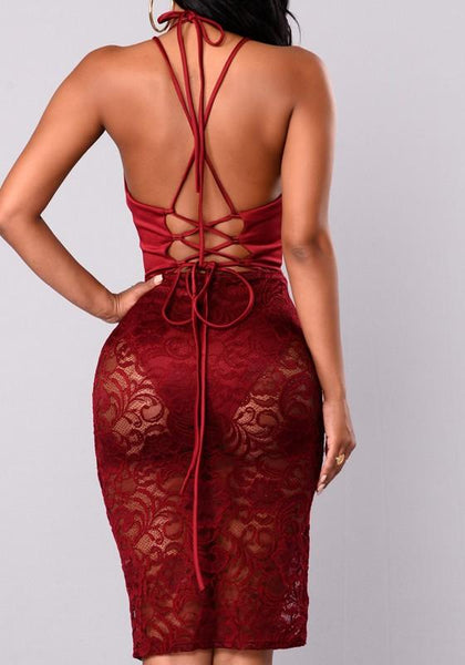 bf2be37fca32 ByChicStyle Red Patchwork Drawstring Condole Belt Plunging Neckline Fashion  Midi D – Bychicstyle.com