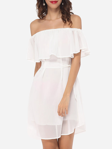 Plain Falbala Captivating Off Shoulder Skater-dress - Bychicstyle.com