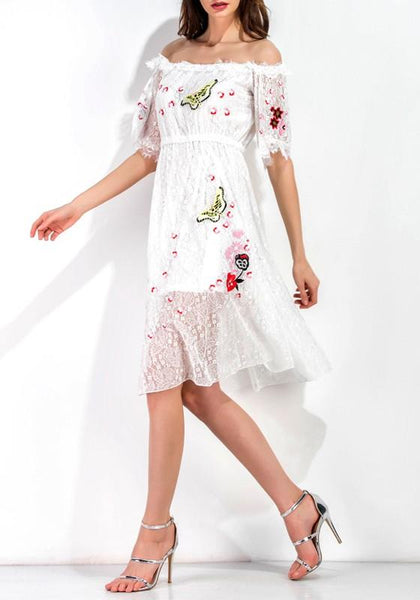 White Patchwork Embroidery Lace Print Double-deck Off Shoulder Midi Dress